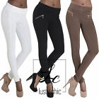 New Women Beige White High Waist Lace Leggings Trousers Pants Size 6 8 10 12 14