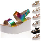 NEW LADIES CHUNKY PLATFORM WOMENS STRAPPY WEDGE GLADIATOR SANDALS SHOES SIZE 3-8