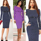 Vintage Long Sleeve Polka Dot Bodycon Stretch Cocktail Knee-Lenght Party Dresses