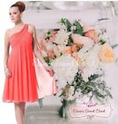 BNWT EVE Knee Length Coral Chiffon Waterfall Bridesmaid Dress UK Sizes 6  - 18