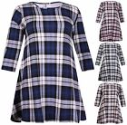 Womens Plus Size Tartan Check Ladies Stretch Half Sleeves Swing Skater Dress Top