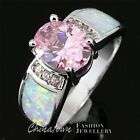 SIZE 5-10 LAB WHITE FIRE OPAL 7X9MM OVAL SIMULATED PINK SAPPHIRE SILVER SF RING