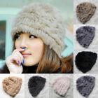 0260 Genuine Winter Women Real Knitted Rabbit Fur Hat Cap Headgear Tuque Beanie