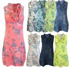 New Ladies Womens Italian Frill Collar Top Sleeveless Printed Ruffle Tunic Dress