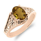0.70 Ct Oval Champagne Quartz 925 Rose Gold Plated Silver Ring