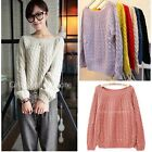 Womens Crew Neck Long Sleeve Knitted Pullover Jumper Cardigan Sweater Knitwear