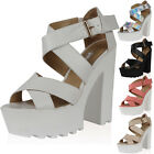 LADIES CROSSOVER STRAP PEEP TOE WOMENS CLEATED SOLE PLATFORM HEEL SHOES SIZE 3-8
