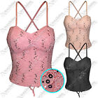 NEW WOMEN LADIES LACE SEQUIN PADDED BRA CORSET TOP BOOBTUBE BODYCON BUSTIER TOPS
