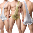 Sexy Mens Underwear Bodysuit Shining Spandex Nightwear Briefs Costume Underpants