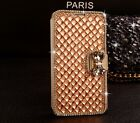 Luxury Champagne Gold Bling Crystal Diamond PU Leather Case For Samsung Galaxy