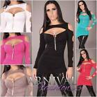 NEW SEXY WOMEN'S DESIGNER TOP 6 8 10 LADIES PARTY SHIRT CLUBWEAR XS S M clubbing