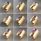 New Charming Colorful Agate Druzy Geode Ring Gemstone Golden HG106