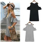 Women Butterfly Sleeve off Shoulder Summer Loose Casual Vest dress Long T shirt