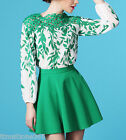 Womens Hollow Lace Crochet Leaf Long Sleeve Ladies Chiffon Blouse Top Green New