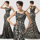 ~ BLACK LACE Formal Evening Ball Gown Bridesmaid Wedding Party Prom Dresses Long