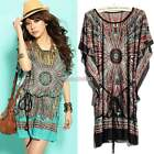 Women's Summer Popular Bohemian Casual Dresses Plus Size Ice Silk Dress N98B