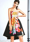 H&M Trend Flared Bell Shaped Bandeau Prom Party Dress Black Floral UK 8 10 14 18