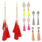 Classical Eastern Style Tassel Pearl Bead Crystal Gold Stud Women Lady Earrings