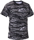Mens Urban Tiger Stripe Camouflage Tactical Military Short Sleeve T-Shirt