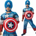 Boys Deluxe Captain America + Shield Fancy Dress Costume Kids Superhero Outfit