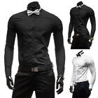 2015 Black&White Men's Pure Slim Cotton Long Sleeved Casual Shirt Bow Tie