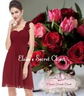 BNWT CHLOE Corsage Chiffon Cranberry Red Bridesmaid Prom Occasion Dress UK 6 -18