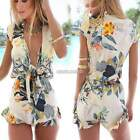 New Sexy Women Floral Print Playsuit Summer Beach Dress Jumpsuit Shorts Pants N9