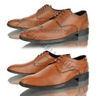 NEW MENS REAL LEATHER BROGUE LACE UP CASUAL SMART OFFICE TAN BOOTS SHOES SIZE