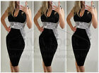 Women Celeb Pencil Bodycon Slimming Illusion Crochet Party Sleeveless Midi Dress