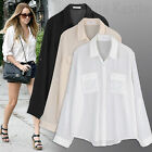 Annakastle Womens Semi-Sheer Chiffon Button-Down Pocket Utility Shirt Blouse S-M