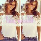 Fashion Sexy Women Off Shoulder Casual Tops Blouse Lace Crochet Chiffon Shirt