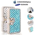 Leather Case Cover Protector For iPhone Fancy Women Wallet Bling Crystal Diamond