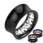Pair Inner Princess Cut Gem Pattern Inlayed Black Acrylic Saddle Fit Tunnels