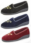 New Womens Ladies Luxury Full Slippers Size UK 3 - 8 BLACK NAVY WINE
