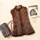 New 100% Real Genuine knitted Mink fur Vest Gilet waistcoat coat jacket V0004
