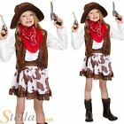 Girls Cowgirl Costume Child Western Cowboy Wild West Fancy Dress Outfit