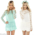Women Ladies Chiffon Long Sleeve Loose Tops Lace Crochet Shirt Casual Blouse New