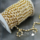 10y A-Grade Silver/Gold 2/3/4mm Rhinestone Diamante Close Cup Chain Trim Craft