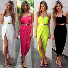 Women's Front Split Ladies Evening Cocktail Party Slim Maxi Long Sundress Dress