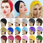 Stretchy Turban Head Wrap Band Chemo Bandana Hijab Pleated Indian Cap Hat