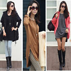 Women Long Sleeve Irregular Mid-length Top Hem Zipper T-shirt Blouse Tops