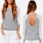 Women Girl Backless Long Sleeve Embroidery Lace Crochet Shirt Top Blouse Stylish
