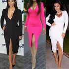 NEW Fashion 3 Colors Cocktail M-XXL Split Dress V Neck Bodycon Party Long Sleeve