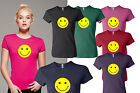 Smiley Face Social Network Smile Icon Logo Bella Ladies Girls T-shirt Tee Pink