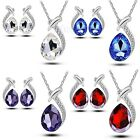 Women Crystal Chic Pendant Silver Plated Chain Necklace Stud Earring Jewelry Set