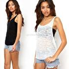 S-XL Loose Women Sexy Crew Neck Shirt Sheer OL Blouse Vest Tank Tops T Shirt