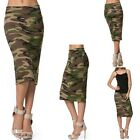 LADIES KNEE LENGTH CAMO, CAMOUFLAGE, MILITARY GREEN, SKIRT, MODERN, S M L XL
