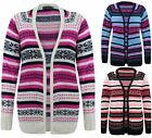 Ladies Womens Long Sleeves Aztec Stripe Open Knitted Cardigan Knit Long Top 8-14