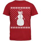 Big Snowman Ugly Christmas Sweater Red Adult T-Shirt