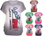 Womens Plus Size Shoe Handbag Print Ladies Sleeveless Sequin Tunic T-Shirt Top